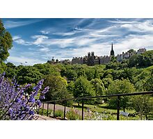 Princes Street Gardens and Ramsay Garden on Castle Hill Photographic Print
