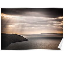 lundy island and baggy point on a dark afternoon Poster