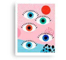 Noob - eyes memphis retro throwback 1980s 80s style neon art print pop art retro vintage minimal Canvas Print