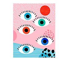 Noob - eyes memphis retro throwback 1980s 80s style neon art print pop art retro vintage minimal Photographic Print