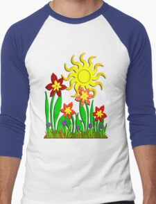 Fanciful Flowers Men's Baseball ¾ T-Shirt