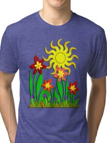 Fanciful Flowers Tri-blend T-Shirt