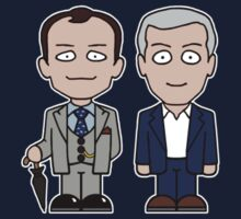Mycroft and Lestrade mini people (shirt) by redscharlach