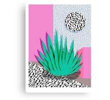 Dag - throwback memphis 1980s neon art pink pastel pattern black and white minimal art design urban Canvas Print