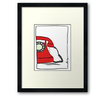 Call me  on the red retro telephone Framed Print