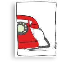 Call me  on the red retro telephone Canvas Print
