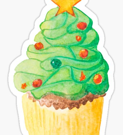 Christmas and New Year cupcake Sticker
