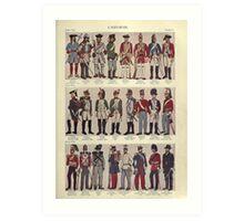 Illustrations of military uniforms from  by René L'Hôpital. Art Print