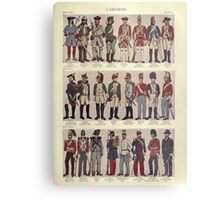 Illustrations of military uniforms from  by René L'Hôpital. Metal Print