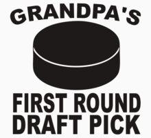 Grandpa's First Round Draft Pick Hockey One Piece - Short Sleeve