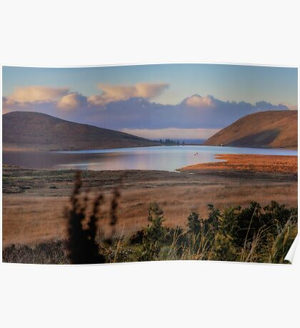 Lake and Hilltown Views Poster