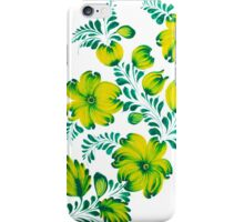 Floral unique painting in lime colors iPhone Case/Skin