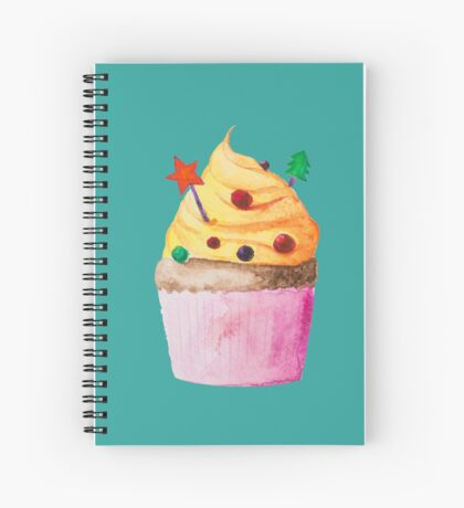 Cute Christmas and New Year cupcake Spiral Notebook