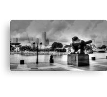 Urban Landscape Singapore BW Canvas Print