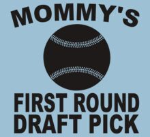 Mommy's First Round Draft Pick Baseball One Piece - Short Sleeve