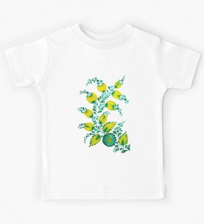 Floral unique painting in lime colors Kids Tee