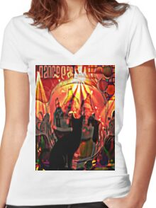 the black cat dance party Women's Fitted V-Neck T-Shirt