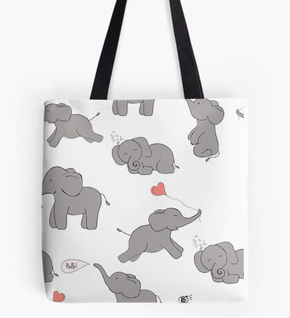 Cute and funny elephants Tote Bag