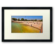 river beach. belém tower Framed Print