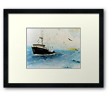 F/V Exodus Trawl Fishing Boat AK Cathy Peek Nautical Chart Framed Print