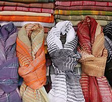 Patterned Scarves at the Market by rhamm