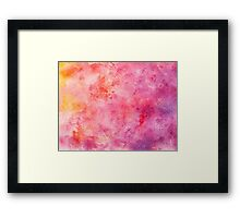 Hand drawn yellow, orange, magenta watercolor Framed Print