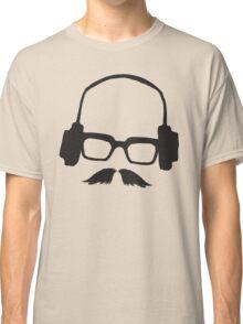 Hipster Face Portrait Music Mustache Glasses Classic T-Shirt