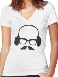 Hipster Face Portrait Music Mustache Glasses Women's Fitted V-Neck T-Shirt