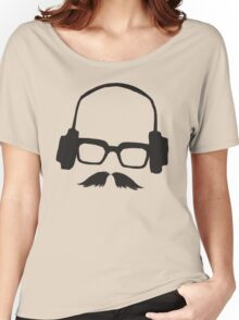 Hipster Face Portrait Music Mustache Glasses Women's Relaxed Fit T-Shirt