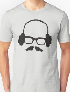 Hipster Face Portrait Music Mustache Glasses T-Shirt