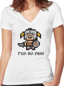 8 Bit Dovahkiin Women's Fitted V-Neck T-Shirt