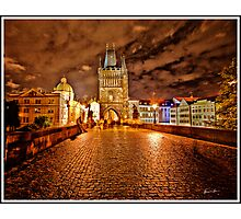 Charles Bridge At Night - Prague - Czech Republic Photographic Print