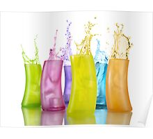 Colorful Drink Splashing from Glasses art photo print Poster
