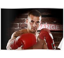 Fighter in boxing gloves art photo print Poster