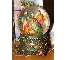 Nativity Snow Globe Photographic Print