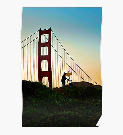 Artist painting the Golden Gate Bridge Poster