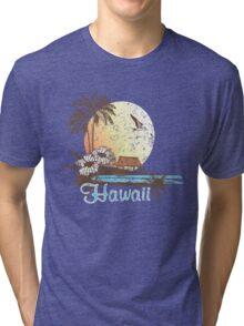 Hawaii Vintage Tropical Scene Tri-blend T-Shirt