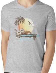 Hawaii Vintage Tropical Scene Mens V-Neck T-Shirt