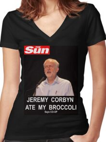 Jeremy Corbyn ate my broccoli Women's Fitted V-Neck T-Shirt