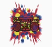 Graphic Boombox Artwork by Bill Tracy Kids Tee
