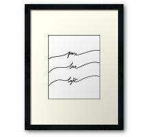 Peace, Love, Light Framed Print