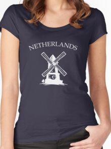 Netherlands Windmills Women's Fitted Scoop T-Shirt
