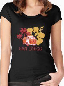 Retro San Diego Beach Scene Women's Fitted Scoop T-Shirt