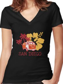 Retro San Diego Beach Scene Women's Fitted V-Neck T-Shirt