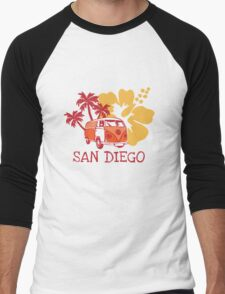 Retro San Diego Beach Scene Men's Baseball ¾ T-Shirt