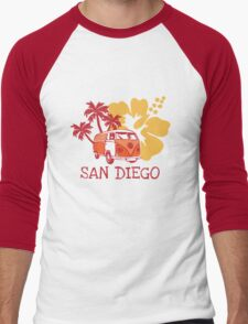 Retro San Diego Beach Scene Men's Baseball ¾ T-Shirt