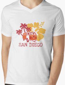 Retro San Diego Beach Scene Mens V-Neck T-Shirt
