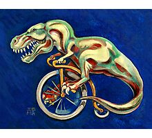 Tyrannosaurus on a Bicycle Photographic Print