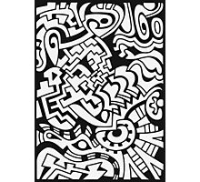 Black and white doodle graffiti Photographic Print