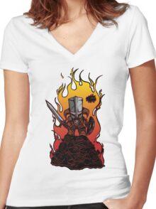 Dragon Crasher Women's Fitted V-Neck T-Shirt